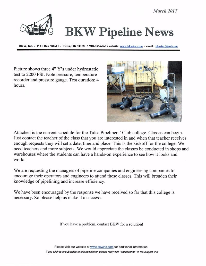 BKW March Newsletter, 2017 plus Tulsa Pipeline Club College