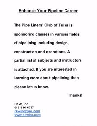 Overview of Tulsa Pipeline Club College